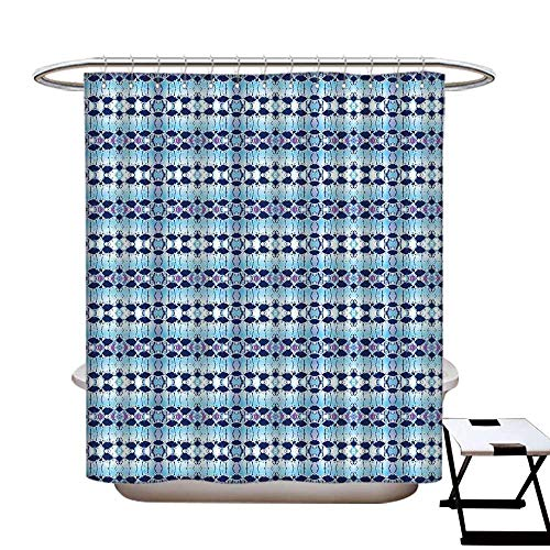 homecoco Tie Dye Mildew Resistant Shower Curtain Liner African Asian Pattern in Blue Shades Psychedelic Batik Design Shower Curtain for Bathroom Pale Blue Navy Blue Fuchsia (Tie Dye Toothbrush)