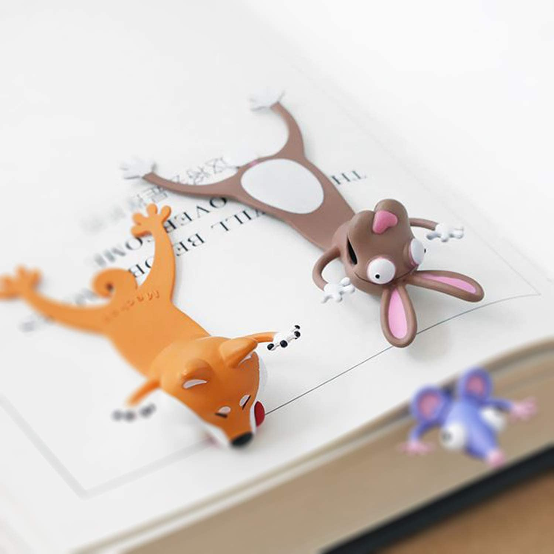 Marcador de Libro 3D Animal Marcap/áginas de Dibujos Animados Marcap/áginas de Animal PVC Marcadores de P/ágina Marcador de Lectura para Libro Regalo para Estudiantes Oficina Papeler/ía Asno