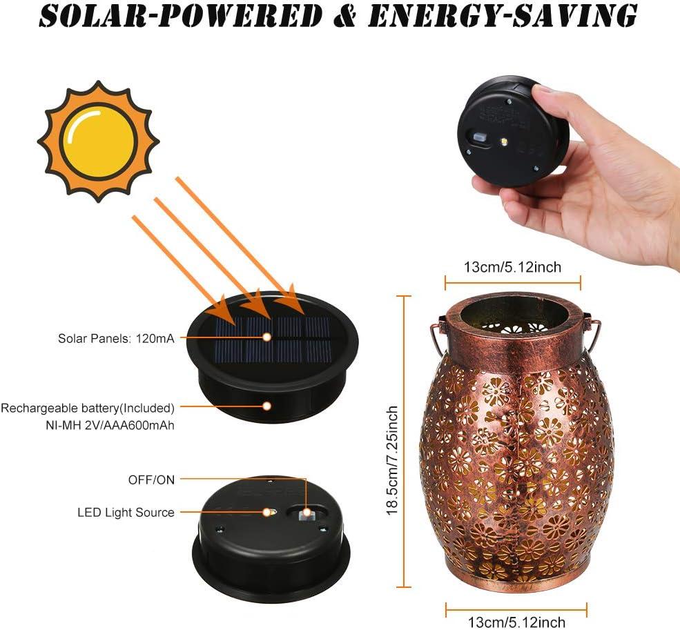 Lanterne Solari In Metallo A Fiore Cilindrico Per Esterno Lanterna Decorativa A LED Per Patio Balcone Terrazzo Lanterna Solare Per Esterno Lampade Solari Per Esterno Giardino IP44 Impermeabile