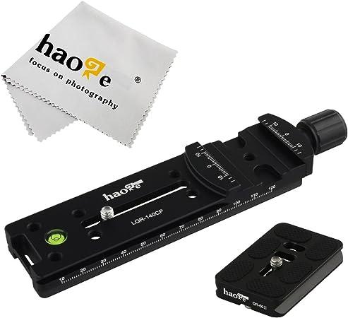 Haoge LQR-140CP 140 mm Nodal Slide Doppel Schwalbenschwanz-Fokussierschiene mit Schnellspannklemme f/ür Kamera Panorama Panorama Nahaufnahme Makro Shoot kompatibel mit Arca Swiss RRS Benro Kirk
