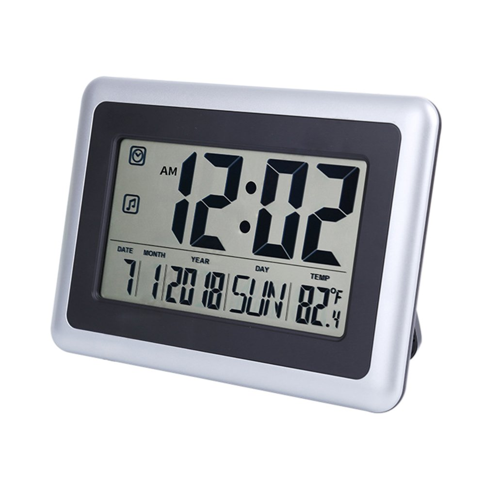 "OCEST Digital Alarm Wall Clock Large Display 7.5"" LCD Screen with Date Time Indoor Temperature Alarm Function Easiest Set by OCEST"