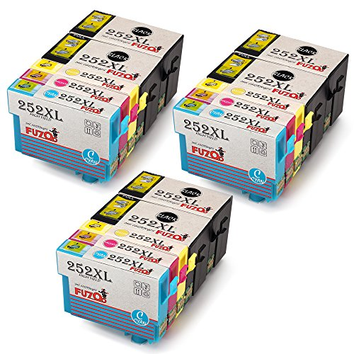 FUZOO 15-Pack Replacement for Epson 252xl Ink Cartridges High Yield (Replacement Cartridge Insert)