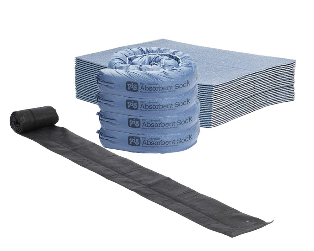 Flood Preparedness Kit by New Pig - Includes Water Barrier and Absorbents, Absorbs up to 18.5 Gallons