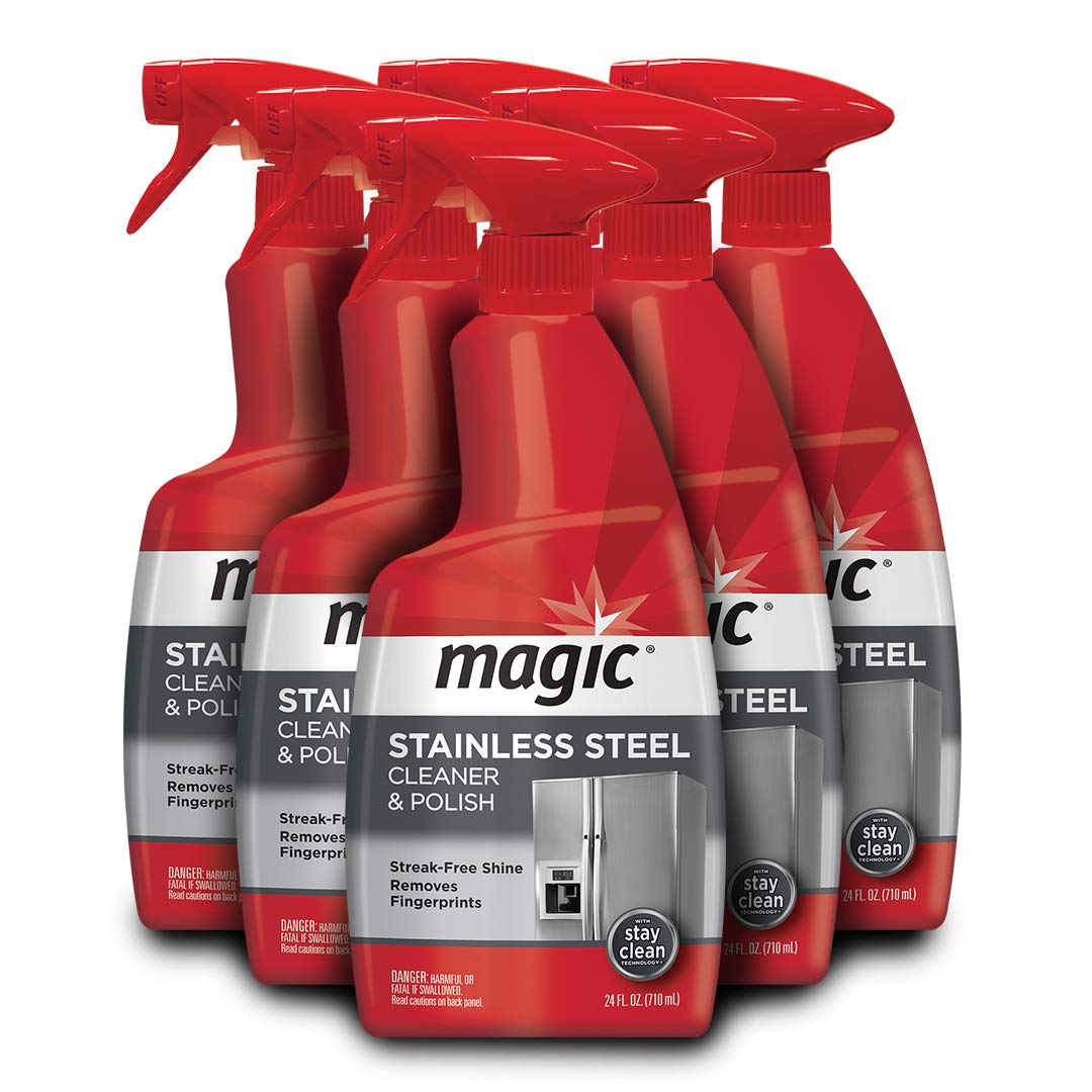 Magic Stainless Steel Cleaner - 24 Ounce 6 Pack - Removes Fingerprints Residue Water Marks and Grease from Appliances - Works Great on Refrigerators Dishwashers Ovens Grills by Magic