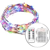 LED String Lights BEILAI 33ft 100LEDs 8 Modes Multi-Color Waterproof Battery Powered Copper Wire Dimmable Fairy String Lights With Remote Control For Outdoor Indoor Decorations (Battery Not Included)