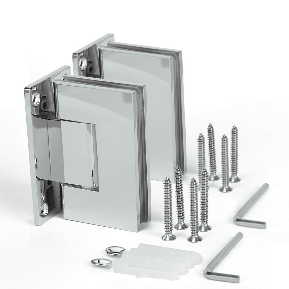 SUNNY SHOWER SH-CH 1 Pair (2 Hinges) Frameless Pivot Shower Door Hinge, 90 Degree Wall-to-Glass, Stainless Steel Polished, Chrome