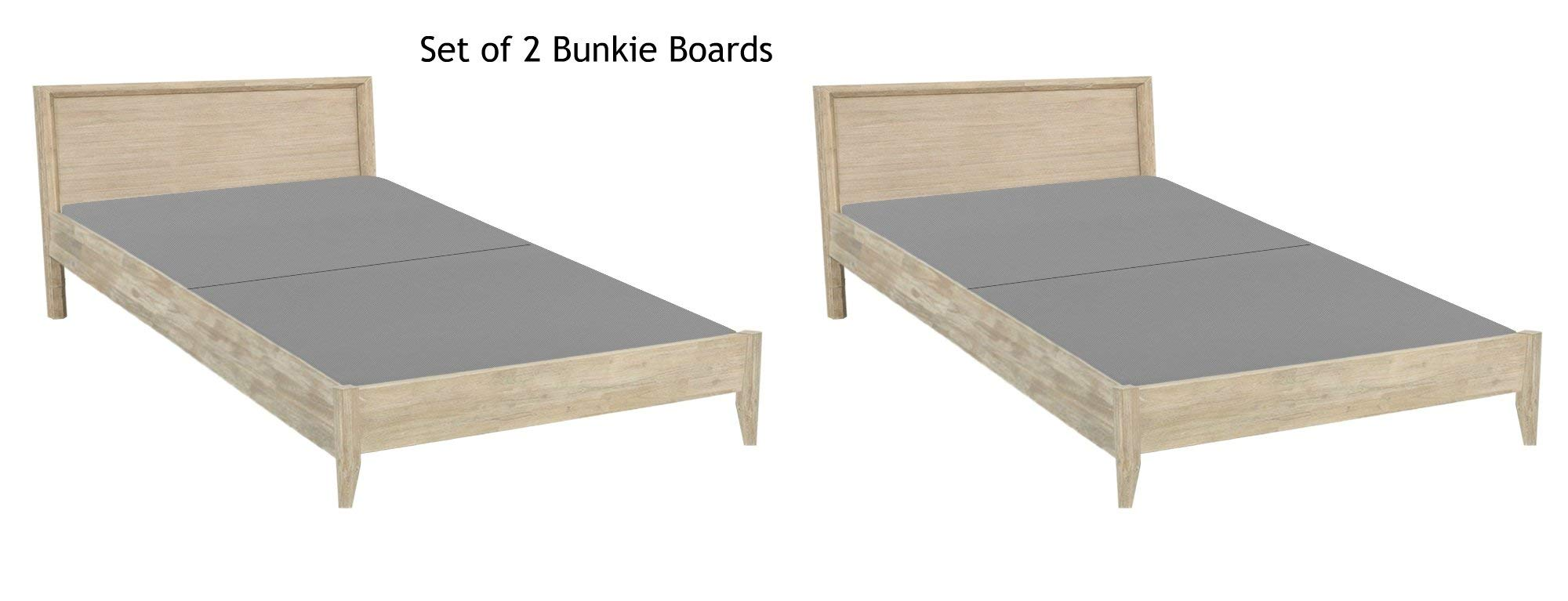 Mattress Solution  of 2 Fully Assembled 2'' Foundation Bunkie Board, Twin, Grey