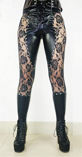e505c22038ebb5 MRxcff S-XL Sexy Women Leggings Lace Pu Leather Leggings Skinny Stretch  Pants Rivet Leggings