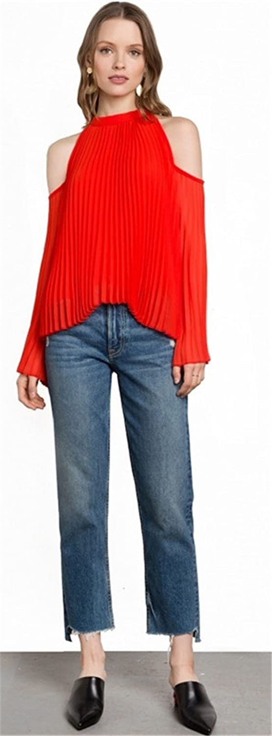 Sexy Long Sleeve Bell Trumpet Flared Flare Sleeve High Mock Neck Cold Open Shoulder Pleated Chiffon Blouse Shirt Top Red at Amazon Womens Clothing store: