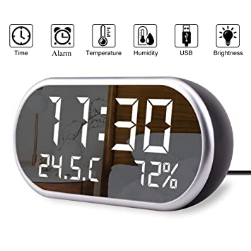 OLLIVAN Digital Alarm Clock, Portable Mirror LED Alarm Clock with Time/Humidity/Temperature Display Functions, 2 USB Ports Charging with 3 Brightness ...