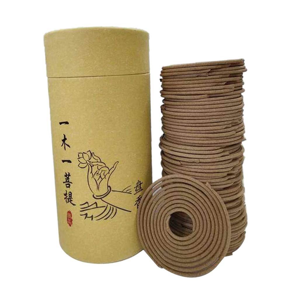 Fityle Natural Sandalwood Rose Incense Home Fragrance Coil Incense Air Refreshing 120 Coils per Box Jasmine Rose - Sandalwood, 68mm