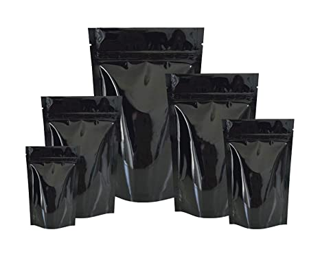 Buzz 50pcs Bolsas ziplock de Aluminio Hoja Mylar Matt, antiolores, para Comida Almacenamiento, Negro, 80x130+25x2(mm)