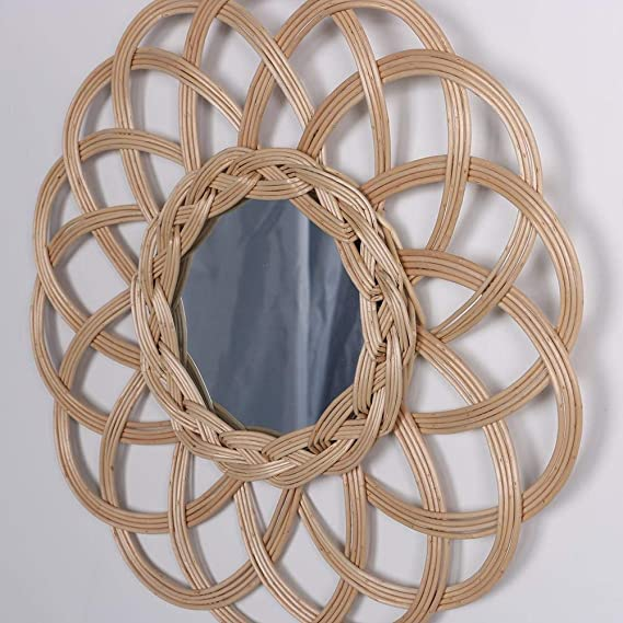 Wall Hanging Rattan Wicker Crafts Frame NICEMEET Home Photo Frame Home Decoration Nordic Style Star-Shaped Mirror Frame Holder