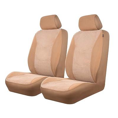 CAR PASS Universal Fit Corduroy Two Front seat Covers,Airbag Compatible,Fit for suvs,sedans,Vans,Trucks (Beige): Automotive [5Bkhe1007814]