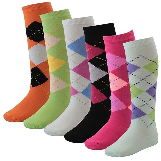Calcetines con rombos de colores hasta la rodilla para niños, 6 pares rojo rojo: Amazon.es: Ropa y accesorios