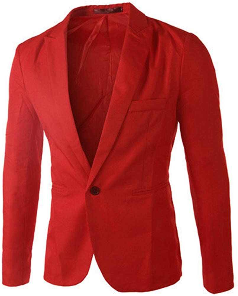 Mens Blazer,One Button Dress Suit Elegant Bussiness Wedding Jacket Coat Top