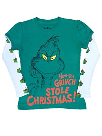 e2189a060784 Amazon.com: Dr. Seuss Girls Green Holiday T-Shirt How The Grinch Stole  Christmas Tee Shirt: Clothing