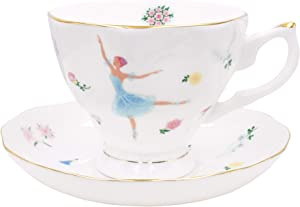 Zealax Floral Bone China Tea Cup and Saucer Set British Teacup Coffee Cup, Ballet Dancer Girls