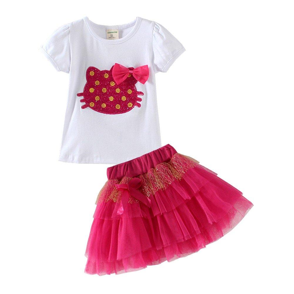 Mud Kingdom Toddler Girl Skirt Set Cute Cat 4T Rose Red