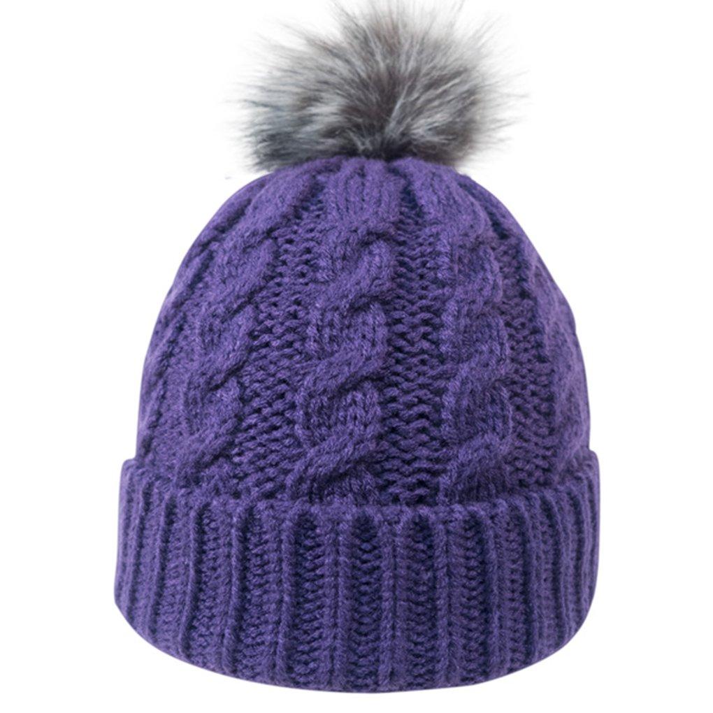 94d3f646fc5 Livingston Womens Winter Soft Knitted Beanie Hat With Faux Fur Pom Pom  Black MC161015000015