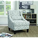 Coaster Transitional Light Grey/White Jacquard Patterned Upholstery Accent Chair