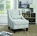 Cheap Coaster Transitional Light Grey/White Jacquard Patterned Upholstery Accent Chair