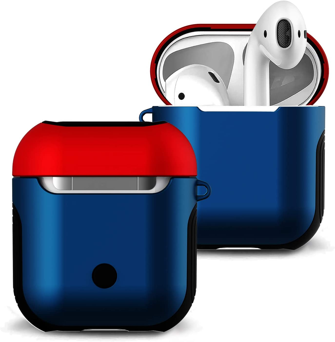 Airpods Case Cover Skin - Romozi Soft Silicone Case +Hard Cover Dual Layer Air Pods Case,Shockproof Drop Proof with Lanyard AirPod Case compatible Apple Airpods Accessories (Blue+Red)