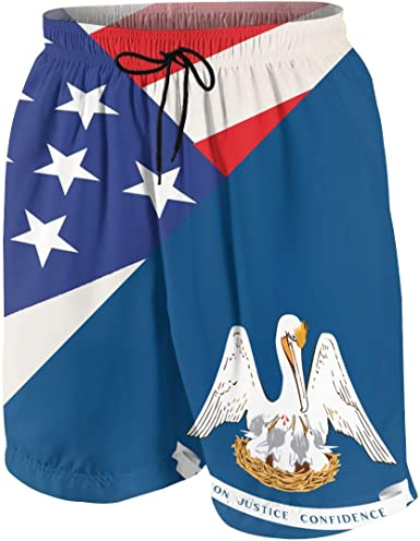 Mens Swim Trunks Louisiana Pelican Flag Fast Dry Ultra-Light Ventilation Board Shorts
