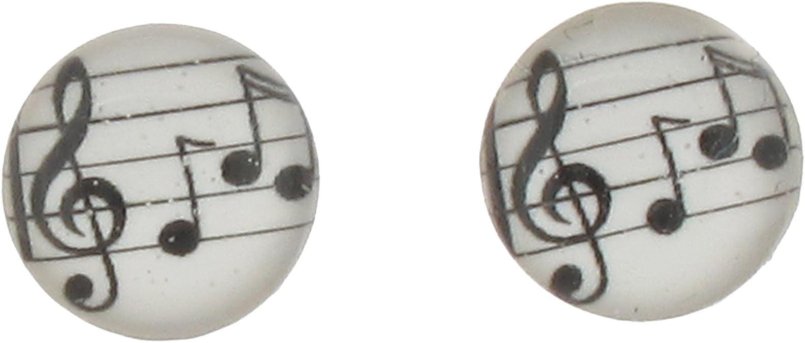 R/ésine Argent sterling avec Note de musique Boucles doreille /à tige
