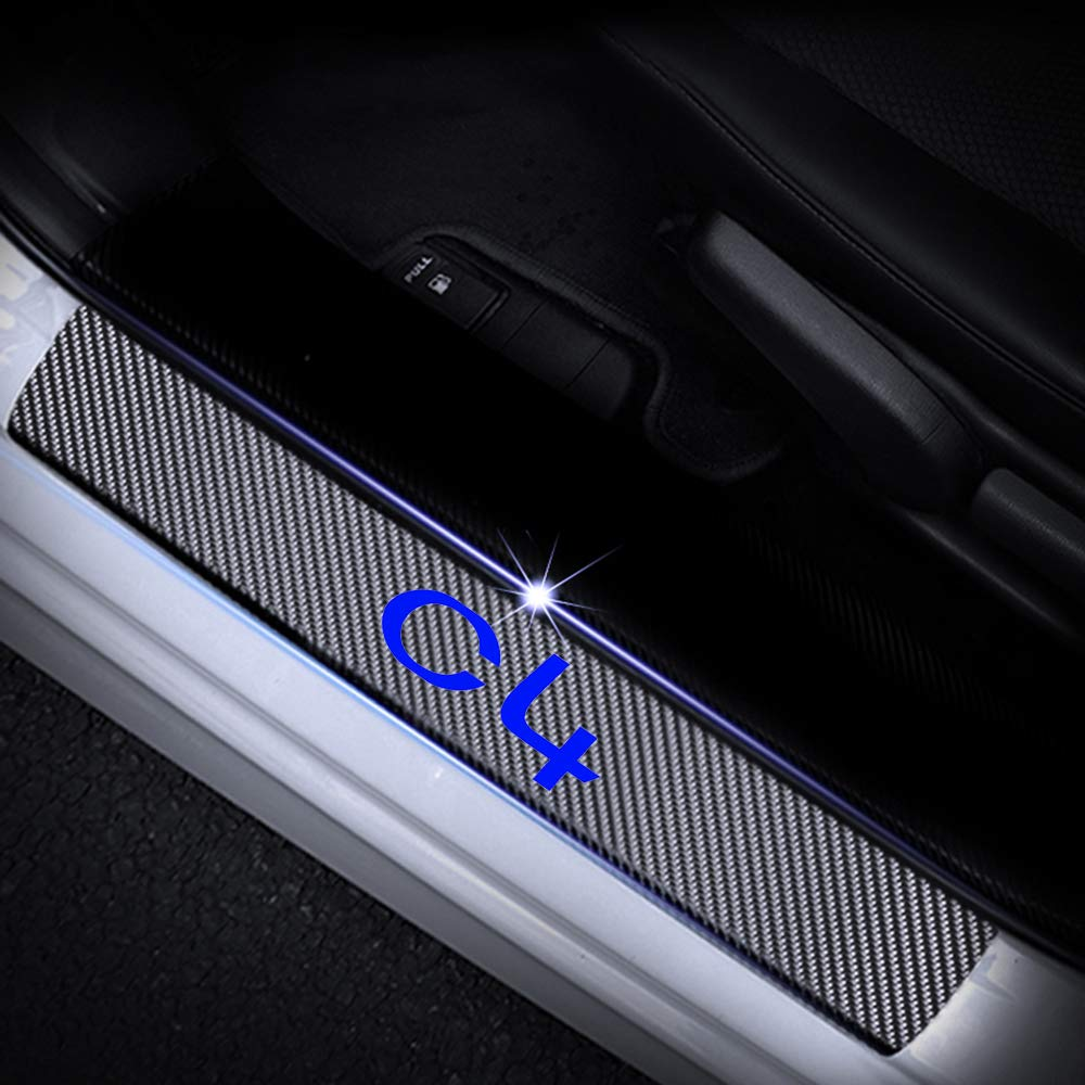 For C4 4D M Car Pedal Covers Door Sill Protectors Entry Guard Scuff Plate Trims Anti-Scratch Reflective Carbon Fiber Stickers Auto Accessories Exterior Styling 4Pcs Blue