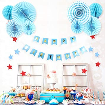 Buy AMFIN First Birthday Decoration Boy Combo Blue Online At Low