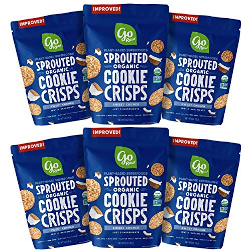 Go Raw Superfood Cookie Crisps, Sweet Crunch, 3 oz Bag (Pack of 6) | Keto | Gluten Free Snacks | Vegan | Natural | Organic
