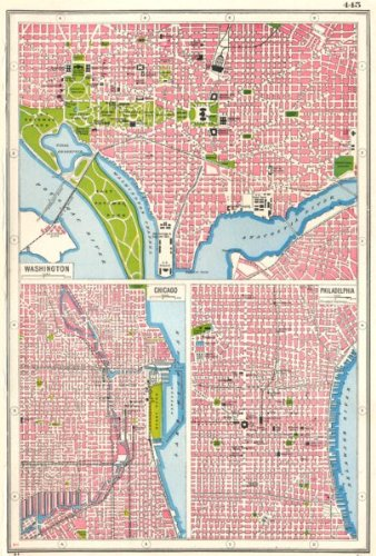 USA CITIES. Washington DC Chicago & Philadelphia city plans - 1920 - old map - antique map - vintage map - printed maps of USA