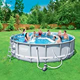 Power Steel Frame Swimming Pool 16' x 48'' Set with Filter Pump, Ladder, Cover and Maintenance Kit