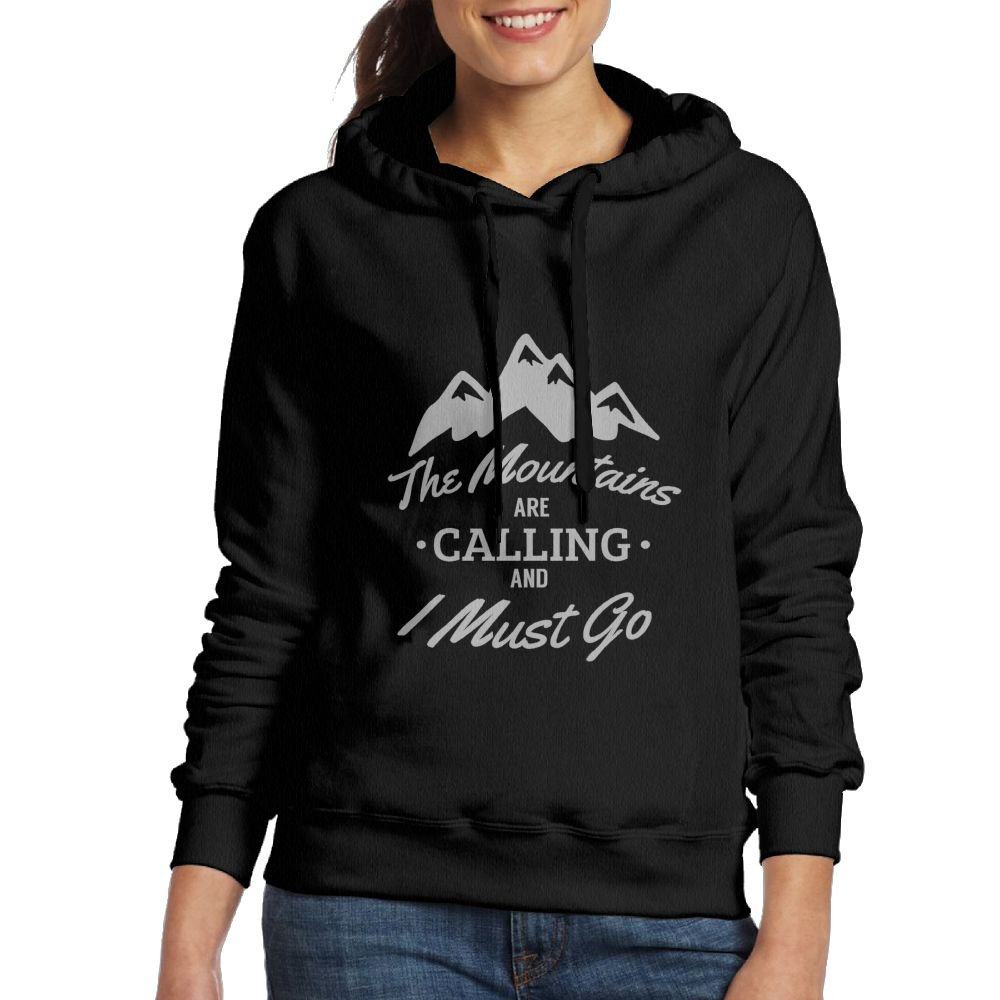 The Mountains are Calling and I Must Go Logo Ladies Casual Zip-up Hoodie Hooded Pullover Sweatshirt with Plus Size