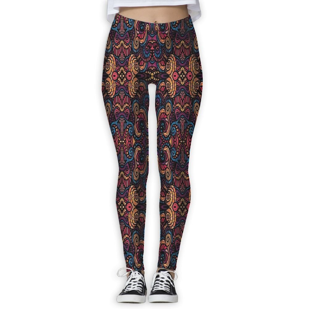XINSHOU Women's Hand Drawn Image With Oriental Rainbow Colored Floral Swirls Glass Pattern Spandex Leggings M