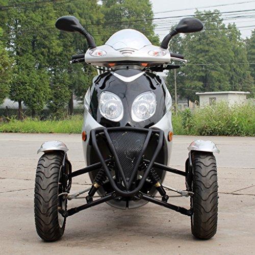 MOTOR HQ 49cc Falcon Trike Scooter Gas Moped Black 3 Wheels