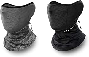 Cycling Face Mask & Face Scarf Ice Silk DUST Wind UV Proof Stretching Cooling Sunscreen Neckerchief Soft Touch Quick Dry Neck Gaiter 2 Packs Black & Gray