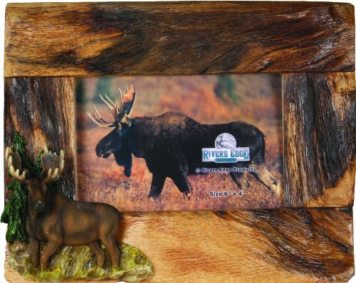 - River's Edge Genuine Firwood Horizontal 4 x 6 Picture Frame with Hand Painted Poly Resin Moose Accent