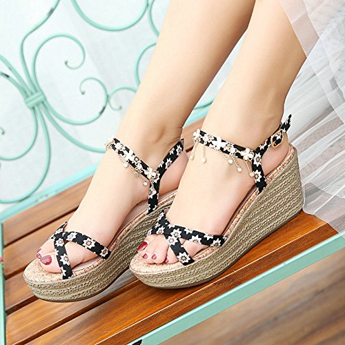 zapatos impermeable femenina Guantes KEIL Sandalias verano Taiwan los grosor Schöne negro hochhackige Diamond en Guantes Lieber PP0wAHq