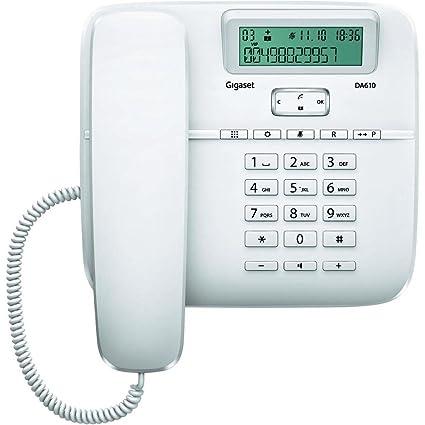 Gigaset DA610 - Teléfono fijo de sobremesa con manos libres y identificación de llamada, plastico