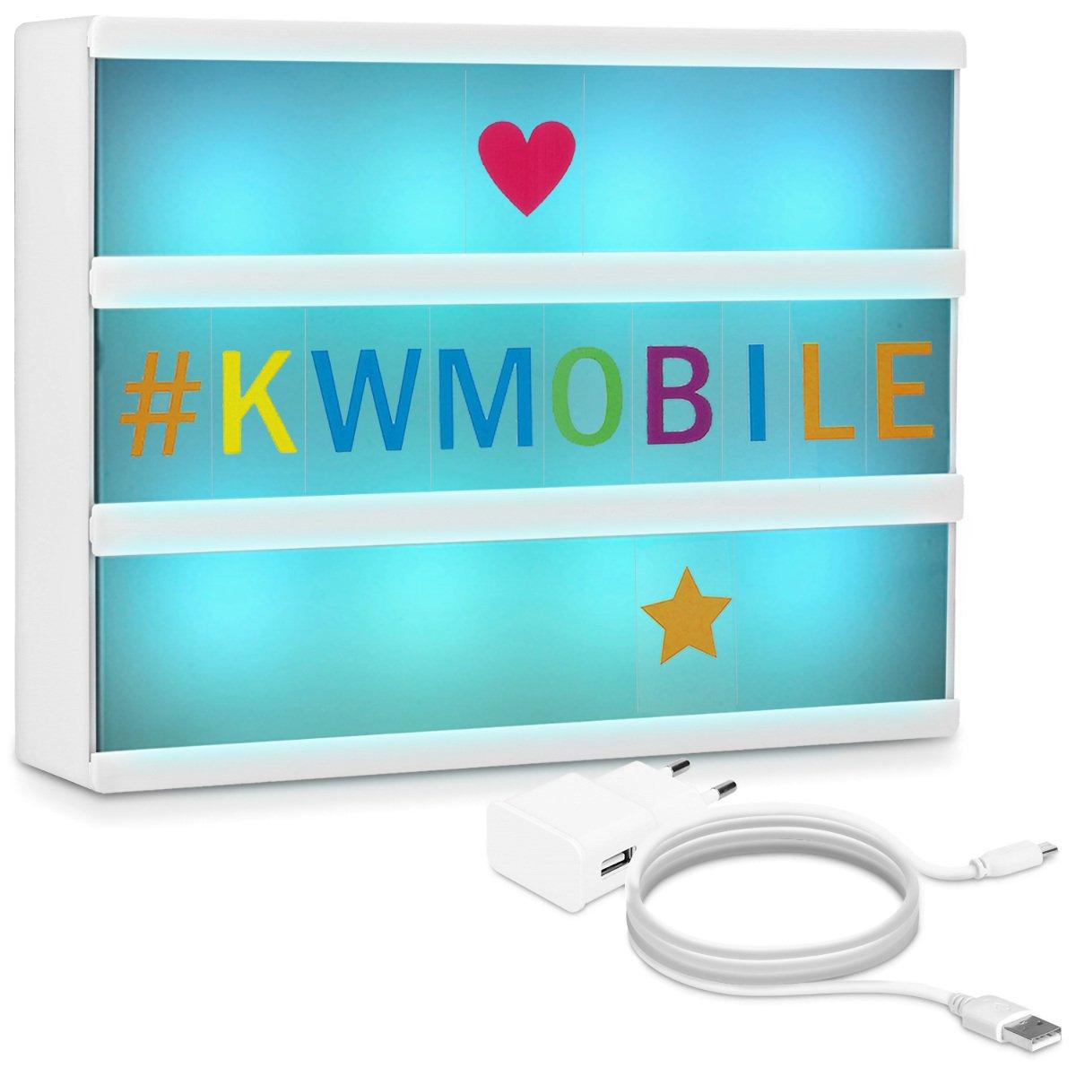 kwmobile Lightbox luminoso cambia colore - illuminazione in 7 colori e 126 lettere colorate - Lavagna luminosa luce LED A4 - Light box USB e batteria KW-Commerce 41053_m001247