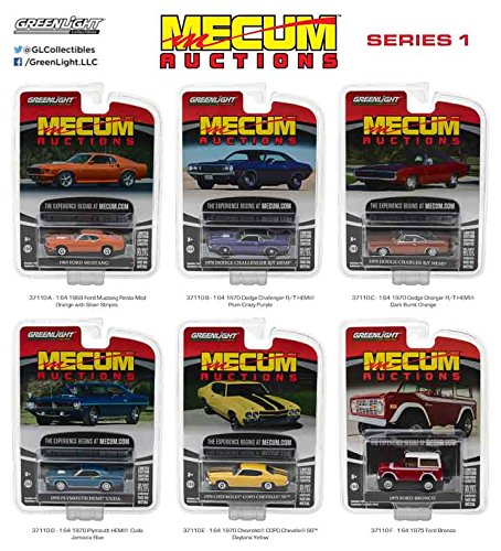 Greenlight 37110 Mecum Auctions Collector Cars Series 1 Complete Set of Six 1:64 Scale Diecast