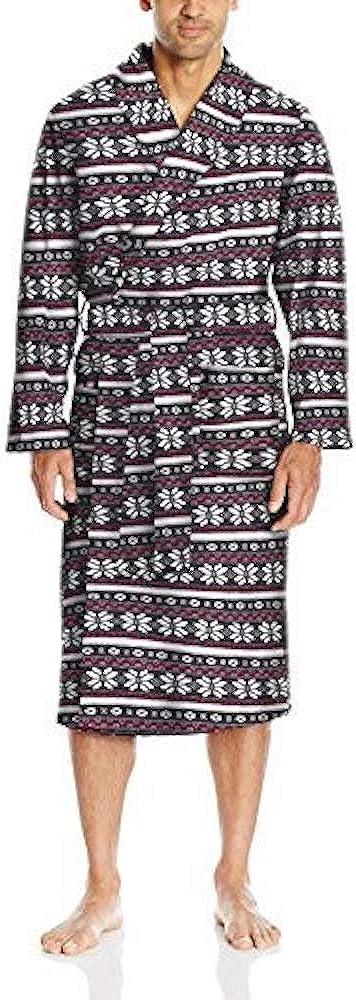 IZOD Men's Ribbed Microfleece Robe