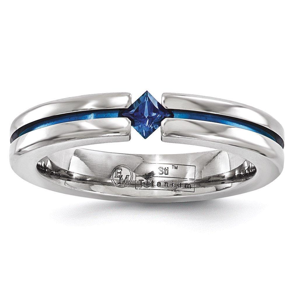 Bridal Edward Mirell Titanium Sapphire /& Blue Anodized 4mm Band