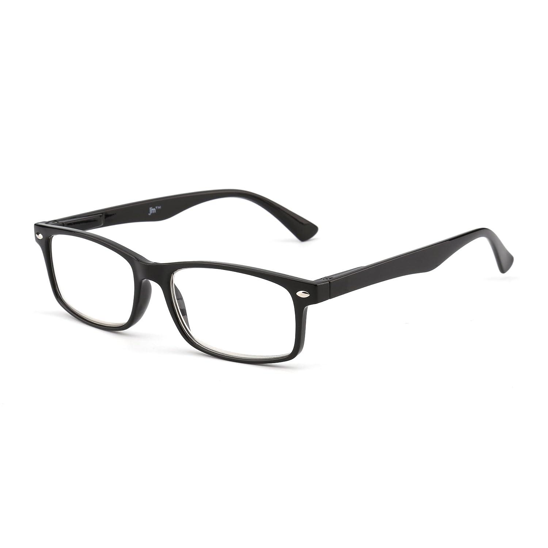614d31d17ade Amazon.com: JM Rectangular Spring Hinge Reading Glasses Men Women Black  Readers for Reading +2.0: Clothing