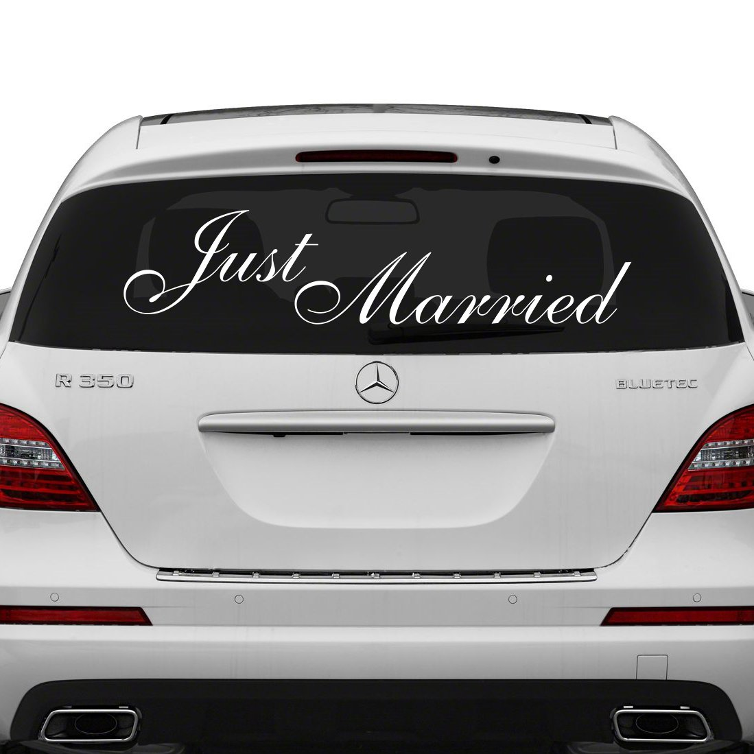 28 x 10 just married vinyl car decal design wedding cling banner decoration quote sticker decals back car window mirror free random decal gift