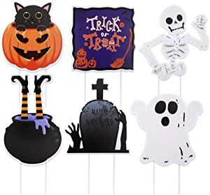 GTN Tech Halloween Decorations Yard Signs Stakes Beware Props - Outdoor Indoor Lawn Trick or Treat Party Decor Ornaments