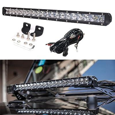 DDUOO 21inch 100W LED Light Bar Single Row Front Cover Bar Light Slim Driving Lamp for Jeep Wrangler JK JKU Ford SUV ATV Boat Marine: Automotive [5Bkhe0413648]