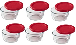 Pyrex 1-cup Storage Containers (Pack of 6) - Total 12-Piece Value Pack